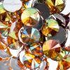 Acrylic Rivoli Flat Back Rhinestones 14mm Gold Aurora Borealis 200pcs/bag
